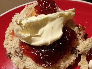 Scone. jam and clotted cream