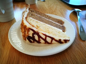 Caramel latte cake at Wynyard Hall