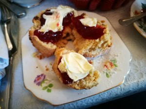 Scones with jam and cream at Folly tearoom
