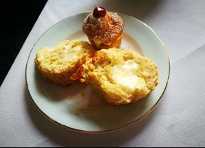 Cheese scone and Victoria sponge at Acklam Hall