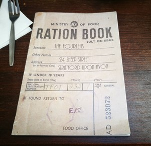 Ration book menu at the Forteas tea room